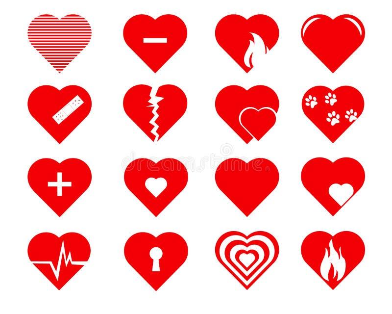 Iconos de los corazones del vector fijados foto de archivo
