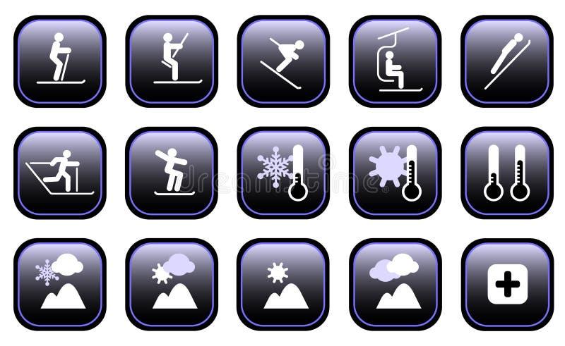 Iconos de los deportes de invierno libre illustration