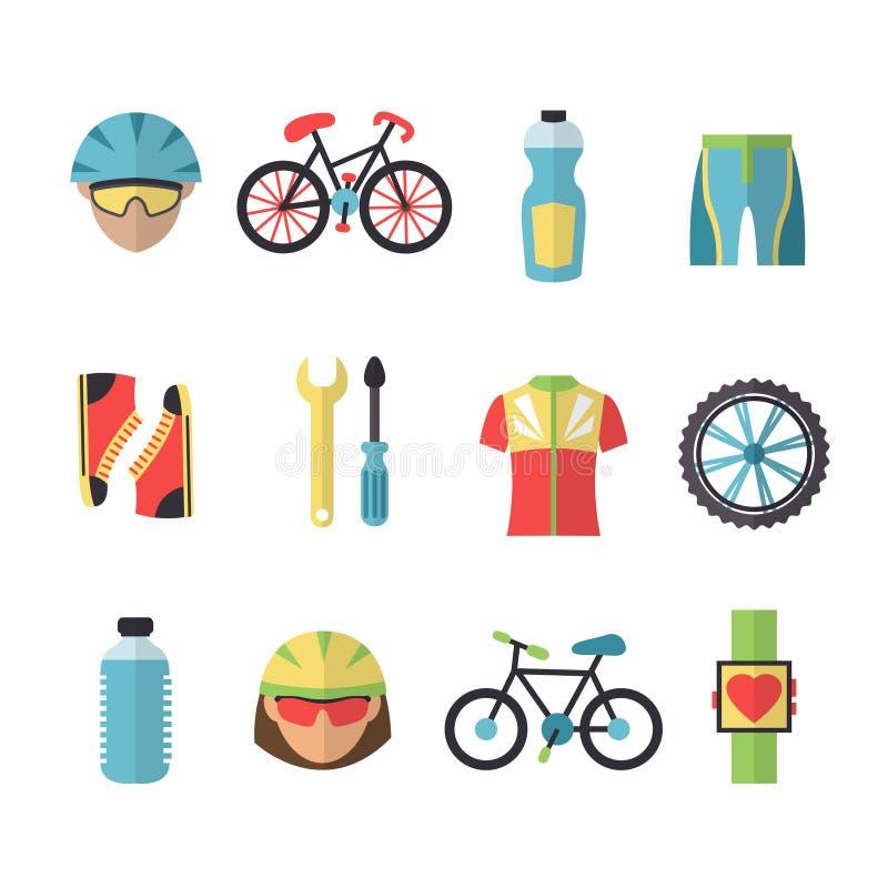 Iconos de los deportes de la bicicleta fijados libre illustration