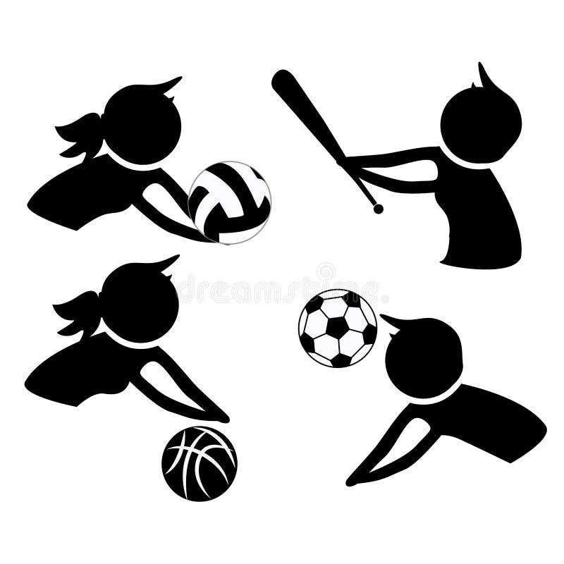 Iconos de los deportes de la práctica stock de ilustración