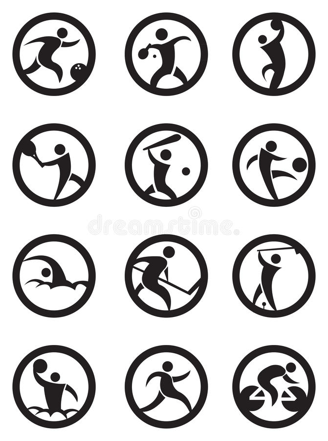 Iconos de los deportes del círculo en blanco y negro ilustración del vector