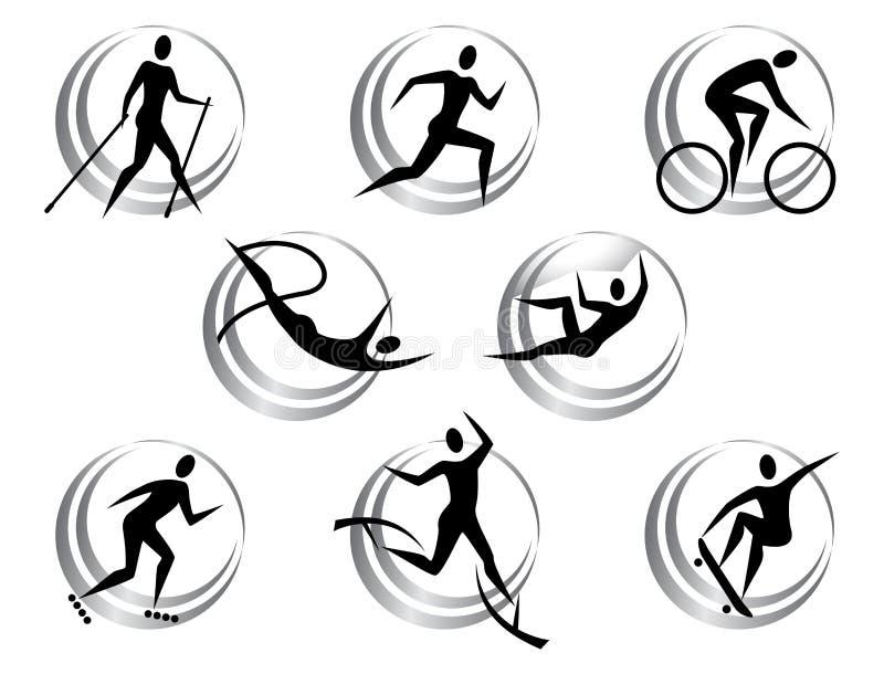 Iconos de los deportes del verano ilustración del vector