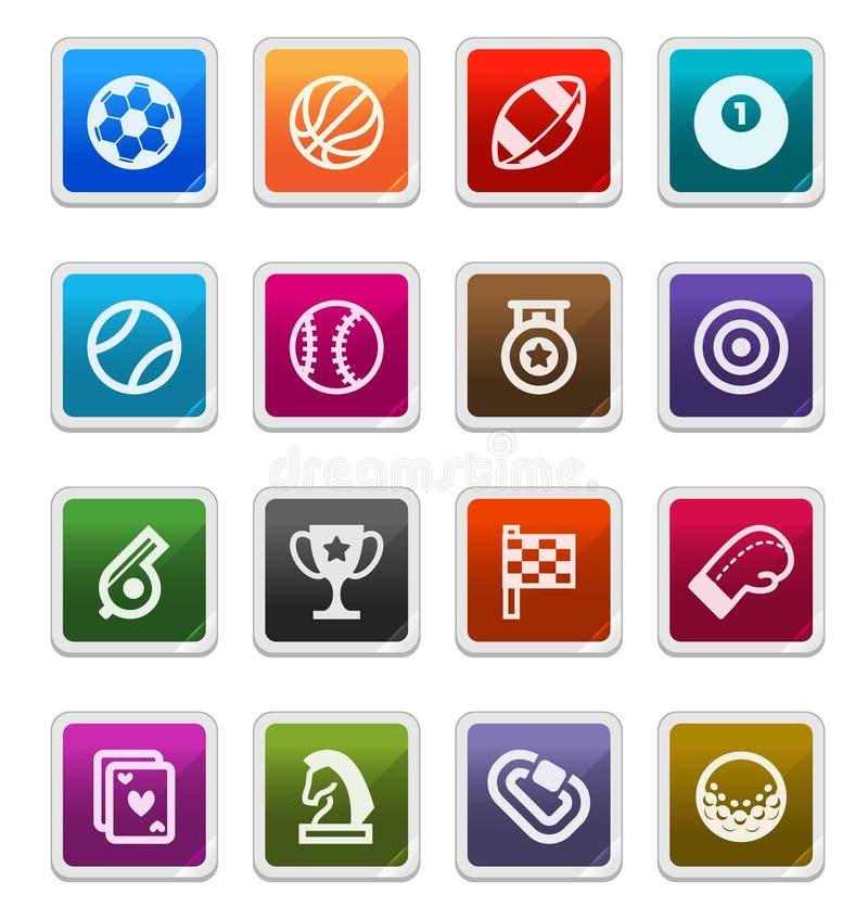 Iconos de los deportes - serie de la etiqueta engomada stock de ilustración