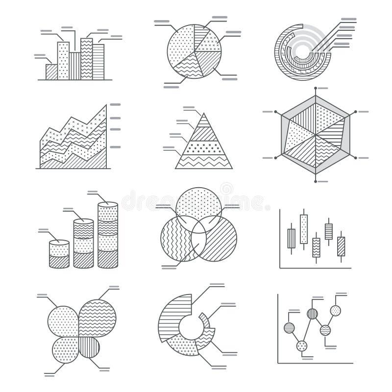 Iconos de los diagramas de los gráficos de negocio fijados stock de ilustración