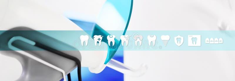 Iconos de los dientes del concepto de la atención sanitaria y vagos dentales de la bandera del web de los símbolos stock de ilustración