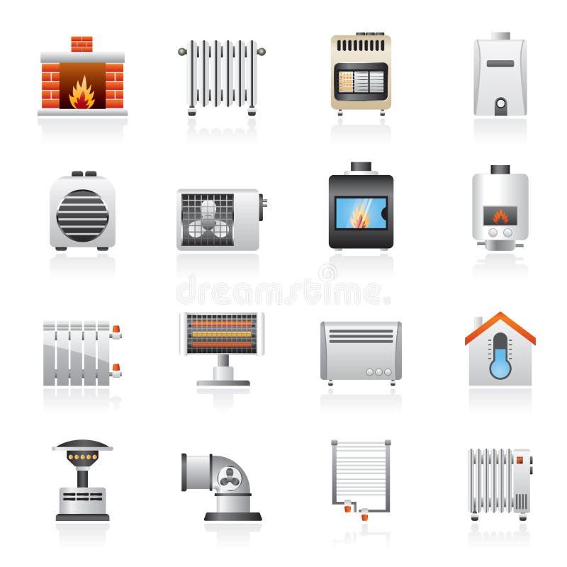 Iconos de los dispositivos de la calefacción de casa stock de ilustración