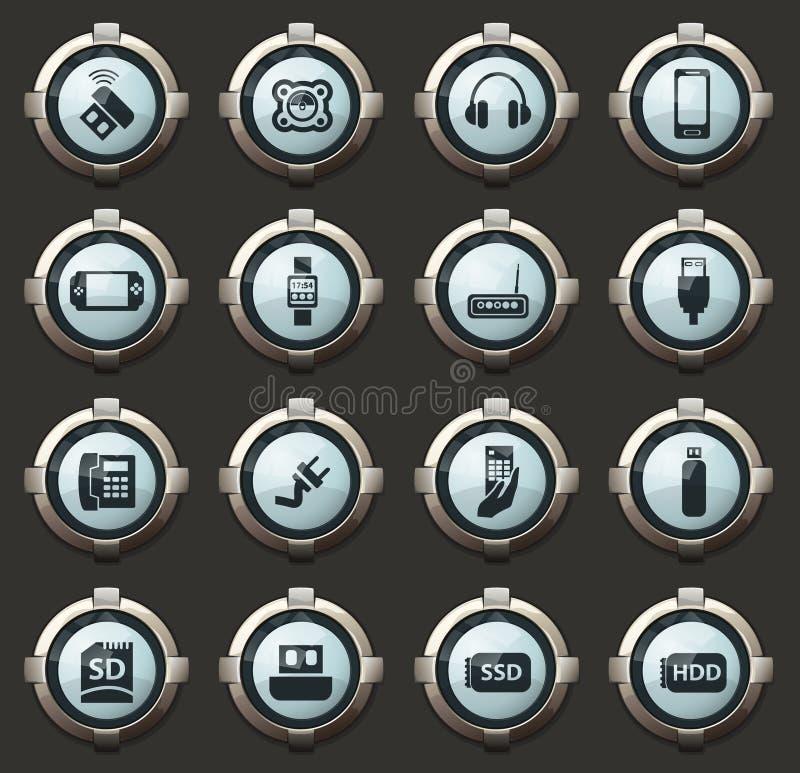Iconos de los dispositivos fijados ilustración del vector