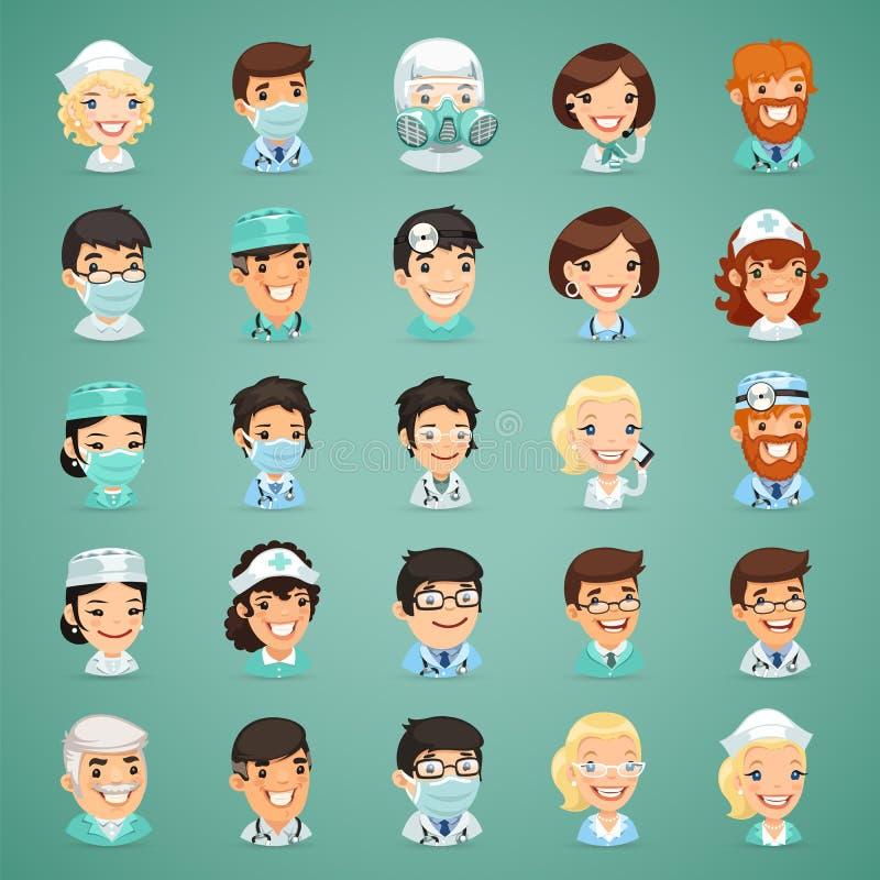 Iconos de los doctores personajes de dibujos animados fijados ilustración del vector