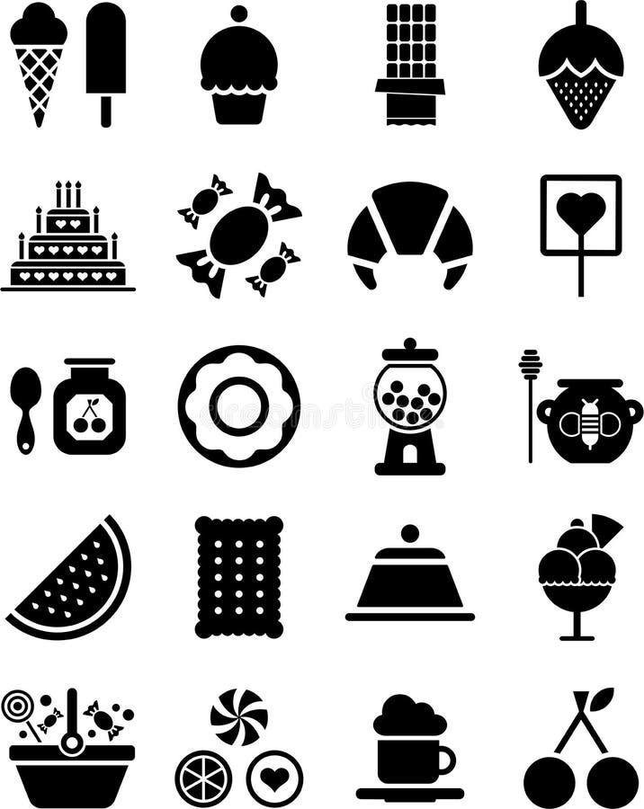 Iconos de los dulces ilustración del vector