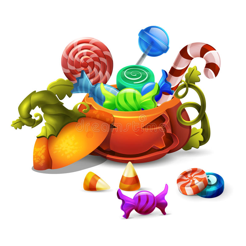 Iconos de los dulces y de los caramelos del feliz Halloween en calabaza ¡Truco o truco! stock de ilustración