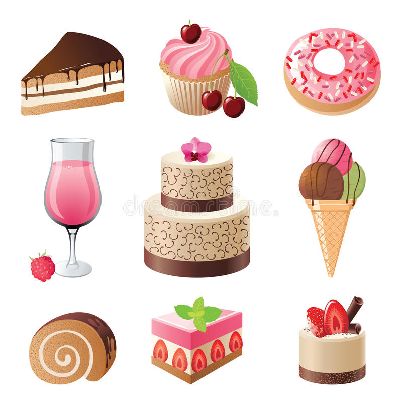 Iconos de los dulces y de los caramelos fijados stock de ilustración