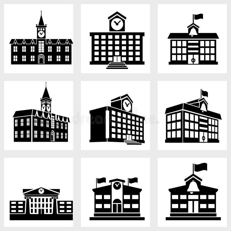 Iconos de los edificios ilustración del vector