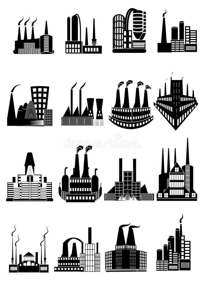 Iconos de los edificios de la fábrica fijados ilustración del vector