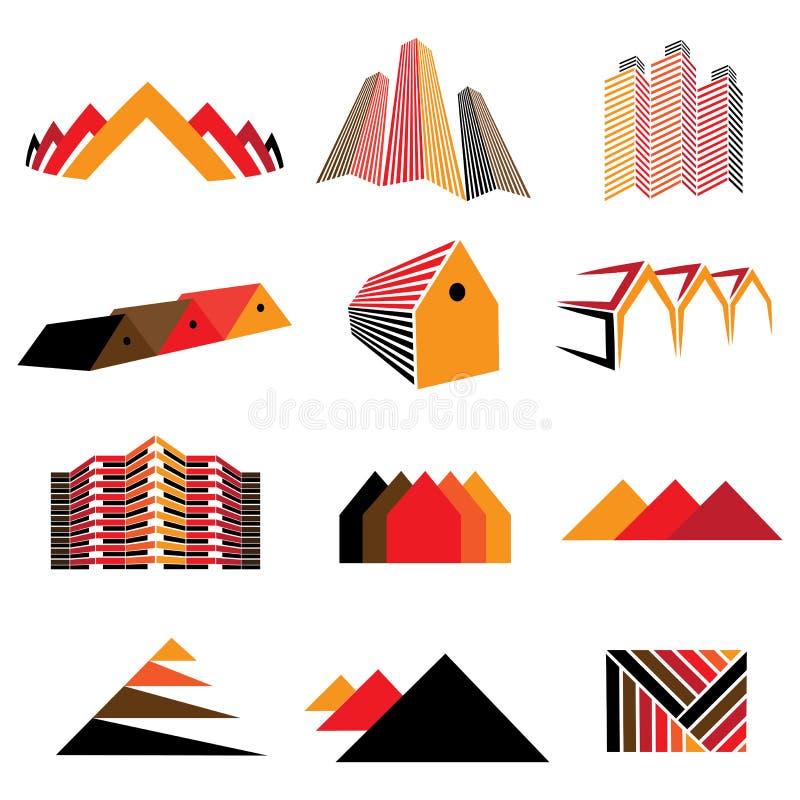 Iconos de los edificios de oficinas, de las casas residenciales y de los hogares. También symb stock de ilustración