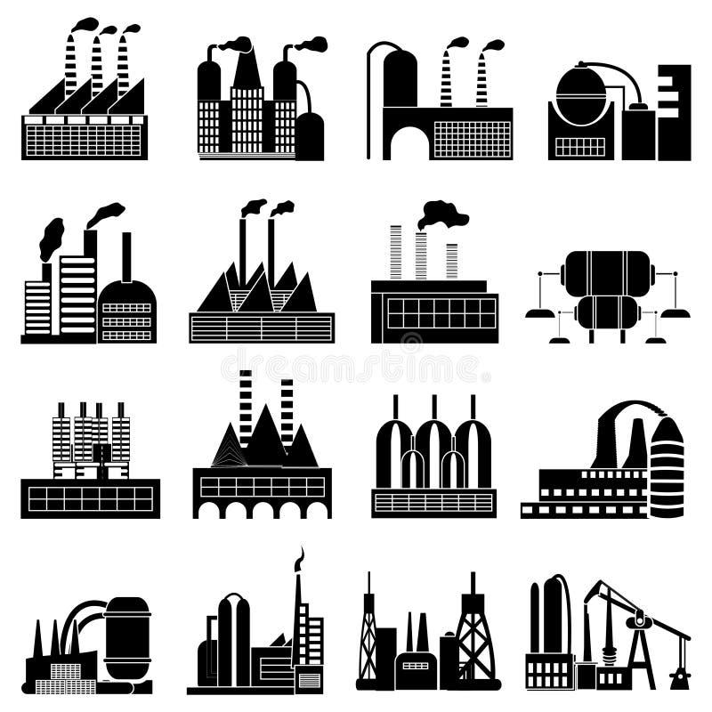 Iconos de los edificios industriales fijados stock de ilustración
