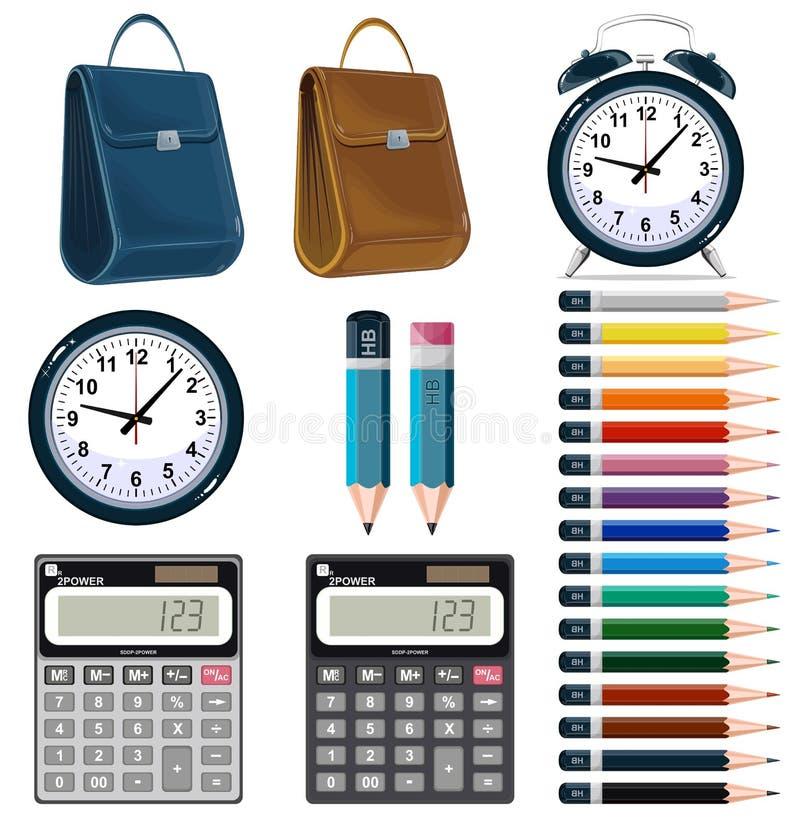 Iconos de los efectos de escritorio de la oficina de negocios fijados. stock de ilustración