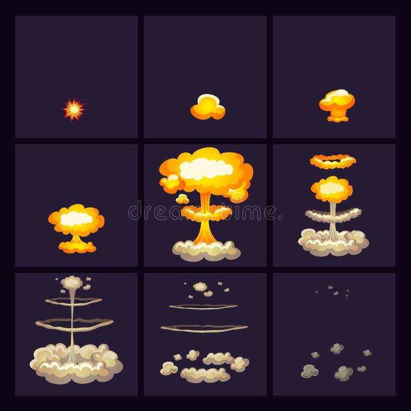 Iconos de los efectos de la explosión fijados stock de ilustración
