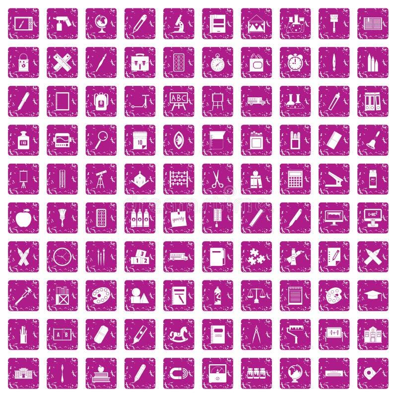 100 iconos de los efectos de escritorio fijaron rosa del grunge ilustración del vector