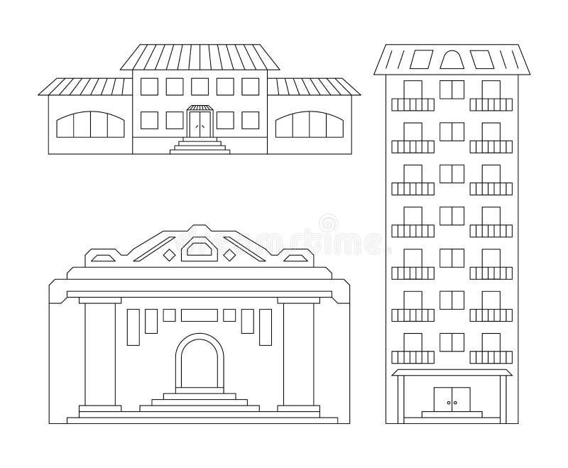 Iconos de los elementos del vector de edificios modernos urbanos de esquemas simples en un fondo ligero aislado stock de ilustración