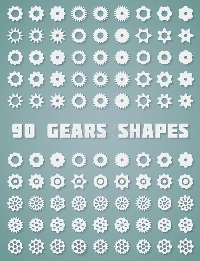 Iconos de los engranajes fijados stock de ilustración