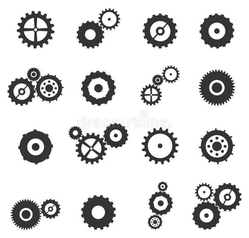 Iconos de los engranajes y de las ruedas del diente fijados ilustración del vector