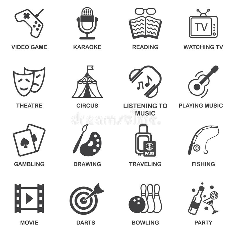 Iconos de los entretenimientos fijados libre illustration