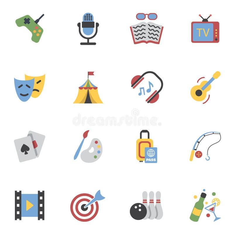 Iconos de los entretenimientos planos ilustración del vector