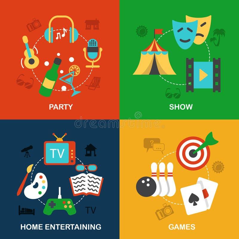 Iconos de los entretenimientos planos stock de ilustración