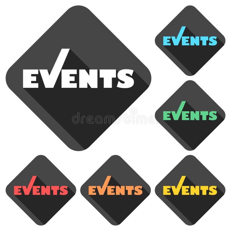 Iconos de los eventos fijados con la sombra larga ilustración del vector