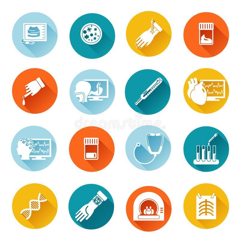 Iconos de los exámenes médicos planos libre illustration