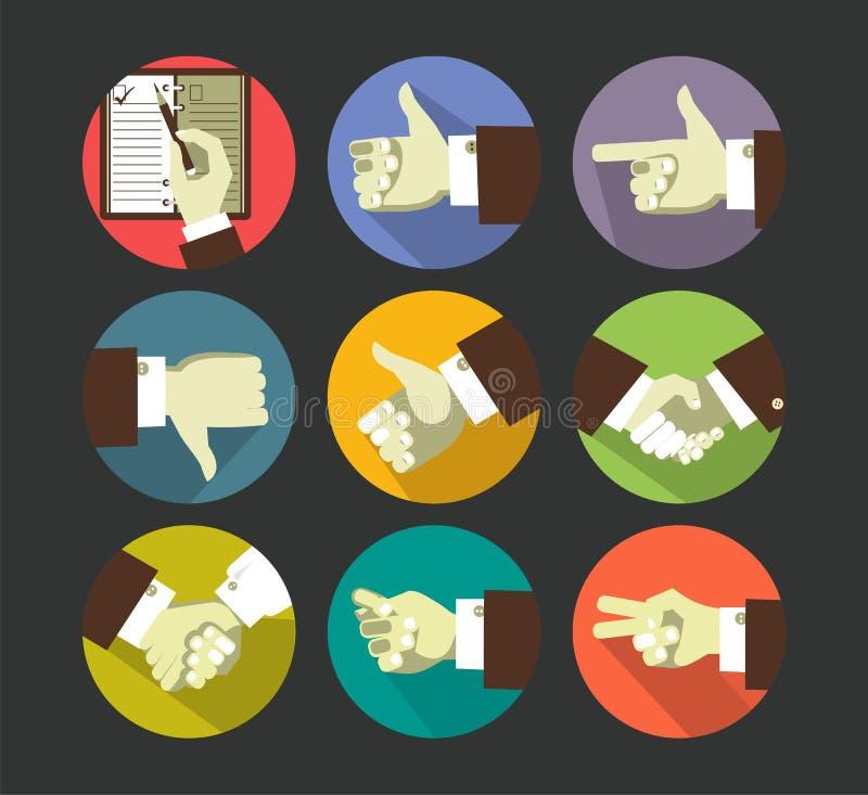Iconos de los gestos de mano stock de ilustración