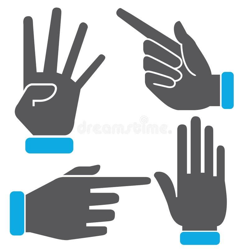 Iconos de los gestos de mano del número ilustración del vector