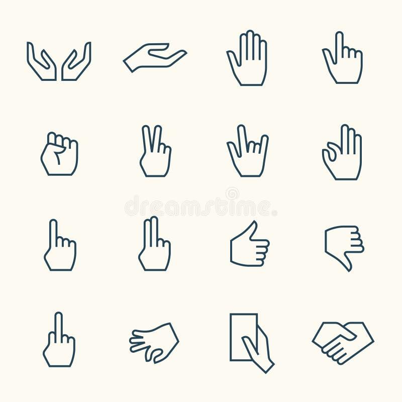 Iconos de los gestos de manos stock de ilustración