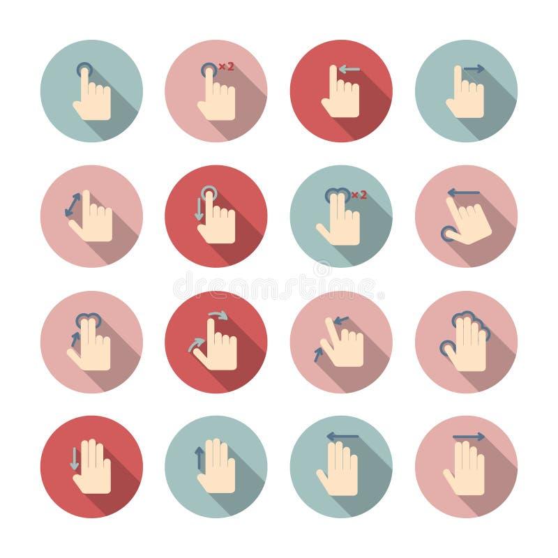Iconos de los gestos del tacto de la mano fijados libre illustration