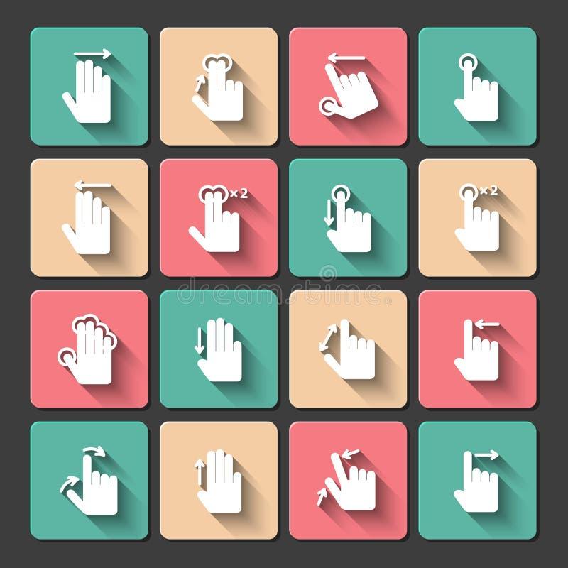 Iconos de los gestos del tacto de la mano fijados stock de ilustración