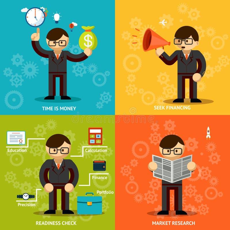 Iconos de los hombres de negocios en fondos coloreados variedad ilustración del vector