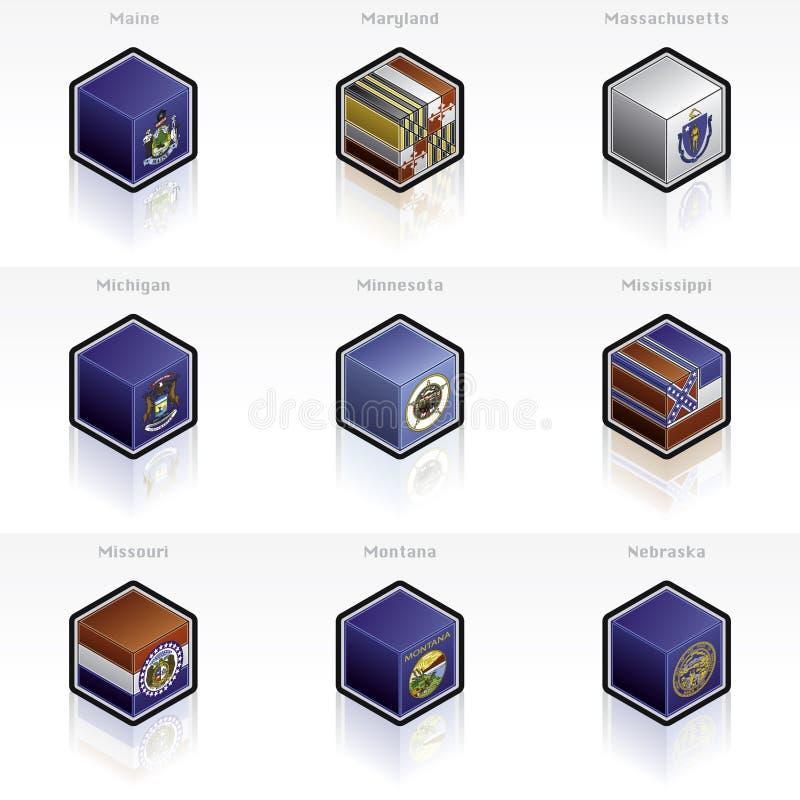 Iconos de los indicadores de Estados Unidos fijados ilustración del vector