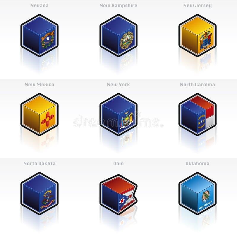 Iconos de los indicadores de Estados Unidos fijados stock de ilustración