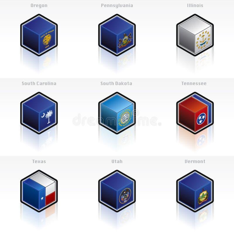 Iconos de los indicadores de los E.E.U.U. fijados ilustración del vector