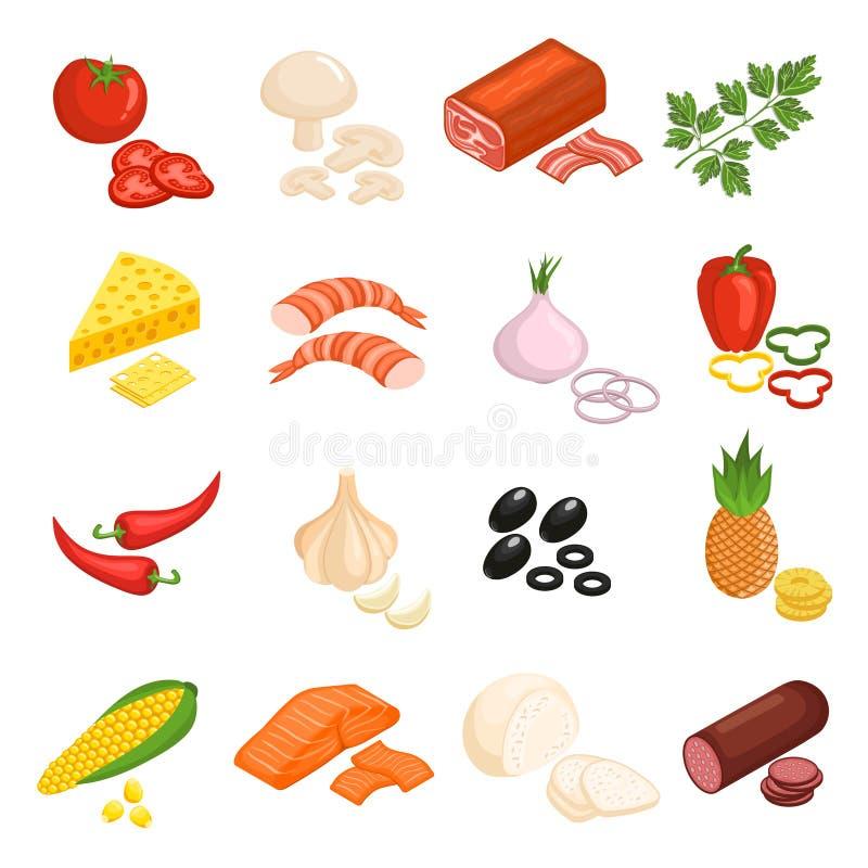 Iconos de los ingredientes de la pizza fijados stock de ilustración