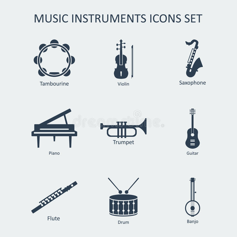 Iconos de los instrumentos de música fijados Vector stock de ilustración