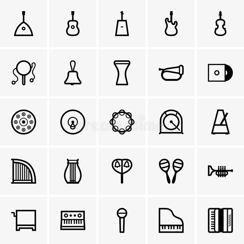 Iconos de los instrumentos musicales ilustración del vector