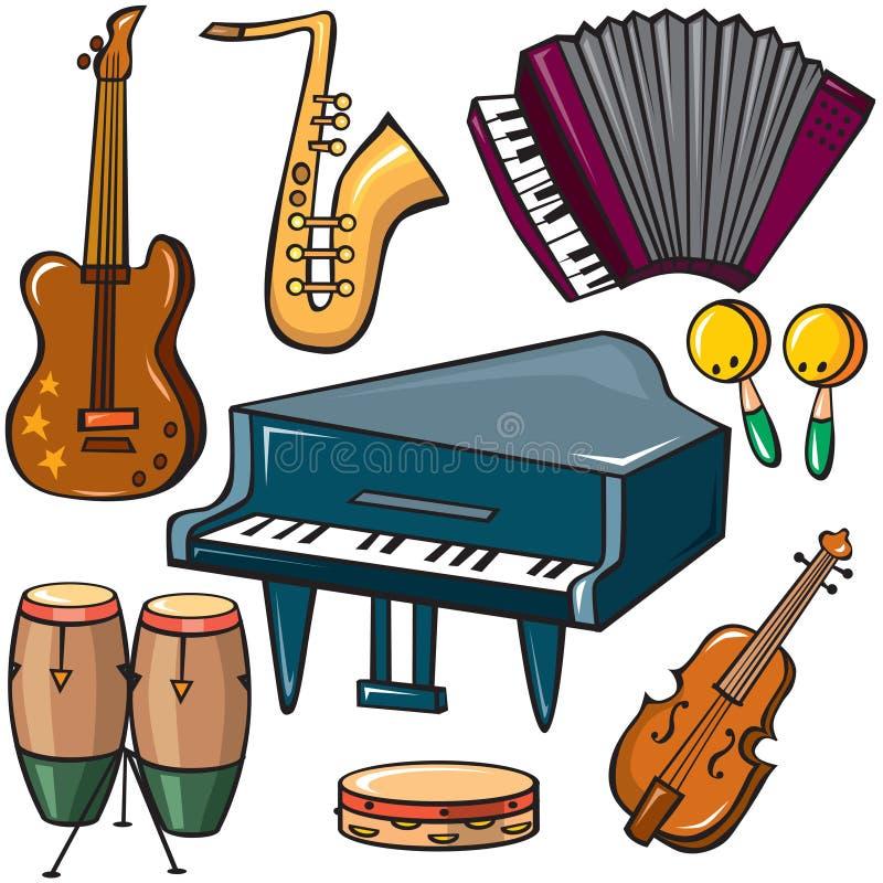 Iconos de los instrumentos musicales fijados libre illustration
