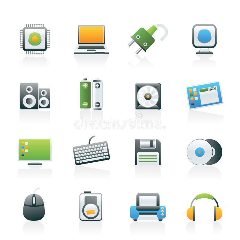 Iconos de los items y de los accesorios del ordenador ilustración del vector