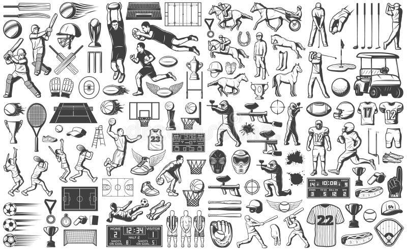 Iconos de los juegos del deporte del vintage fijados stock de ilustración