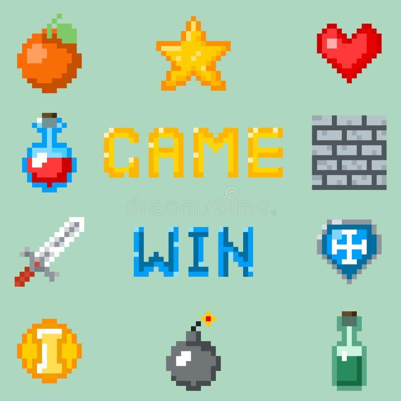 Iconos de los juegos del pixel para el interfaz del web, del app o del videojuego stock de ilustración