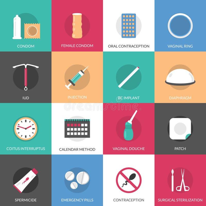 Iconos de los métodos de la contracepción fijados libre illustration