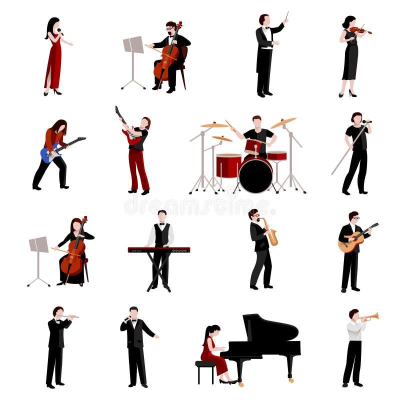 Iconos de los músicos fijados ilustración del vector