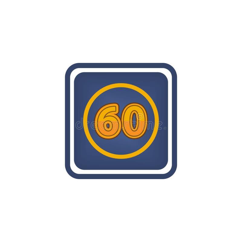 60 iconos de los minutos, ejemplo del tiempo requerido son nota de 60 minutos al redactor stock de ilustración