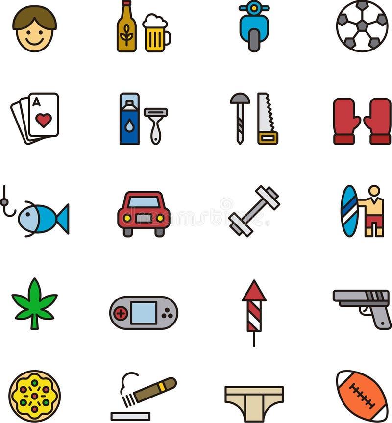 Iconos de los muchachos y de los hombres ilustración del vector
